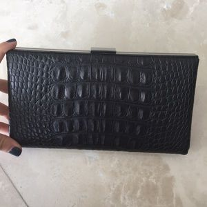 Black crocodile embossed leather clutch